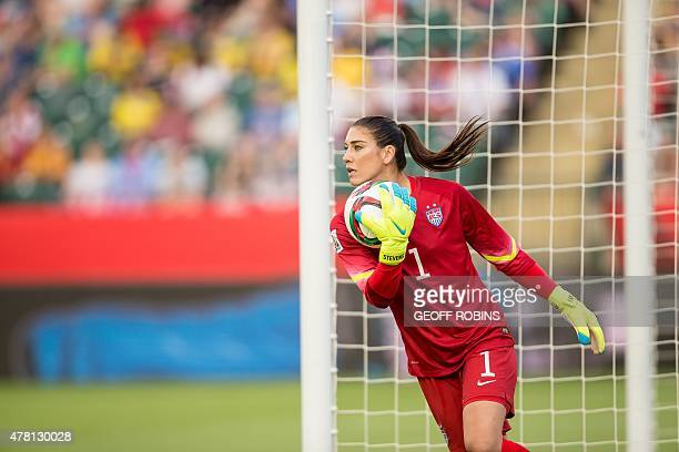 USA goalkeeper Hope Solo makes a save during the United States' 20 win over Colombia in their FIFA Women's World Cup Group of 16 Match at...