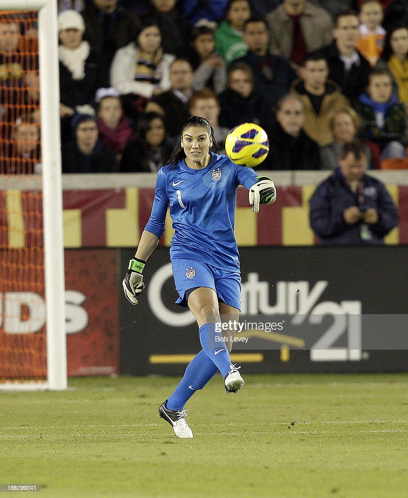 Goalkeeper Hope Solo (1) of the United States during play with China in the first half at BBVA Compass Stadium on December 12, 2012 in Houston, Texas. USA won 4-0.