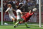 Goalkeeper Hope Solo of the United States is unable to make a save in the second half as Japan scores in the FIFA Women's World Cup Canada 2015 Final...
