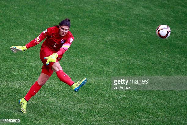 Goalkeeper Hope Solo of the United States of America in action against Japan in the FIFA Women's World Cup Canada 2015 Final at BC Place Stadium on...