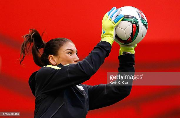 Goalkeeper Hope Solo of the United States of America works out during a training session prior to the FIFA Women's World Cup Canada 2015 Final...