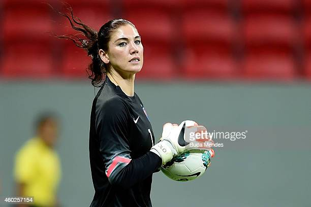 Goalkeeper Hope Solo of the USA in action during a match between USA and China as part of International Women's Football Tournament of Brasilia at...