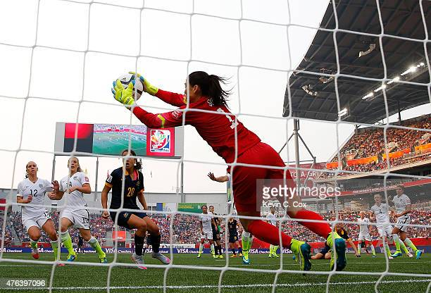 Goalkeeper Hope Solo of United States makes a save in the first half against Australia during the FIFA Women's World Cup 2015 Group D match at...