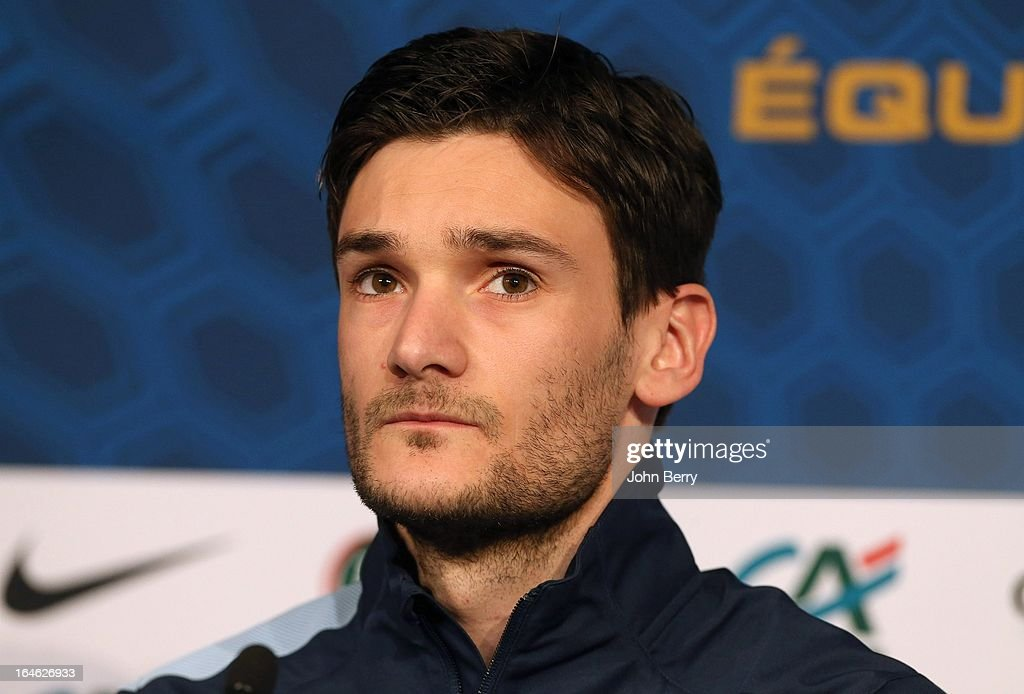 Goalkeeper <a gi-track='captionPersonalityLinkClicked' href=/galleries/search?phrase=Hugo+Lloris&family=editorial&specificpeople=2501893 ng-click='$event.stopPropagation()'>Hugo Lloris</a> and captain of France answers questions from the media during a press conference prior to the FIFA World Cup 2014 qualifier between France and Spain at the Stade de France on March 25, 2013 in Saint-Denis near Paris, France.