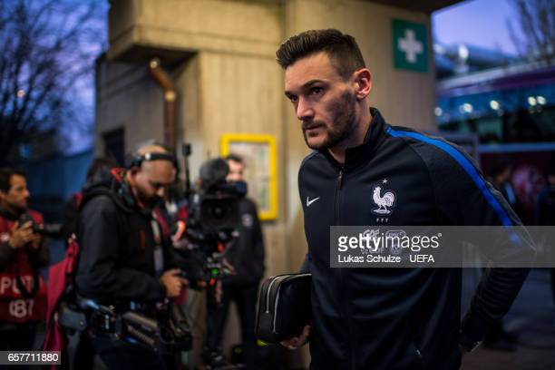 Goalkeeper Hugo Lloris of France arrives prior to the FIFA 2018 World Cup Qualifier between Luxembourg and France at Stade Josy Barthel on March 25...