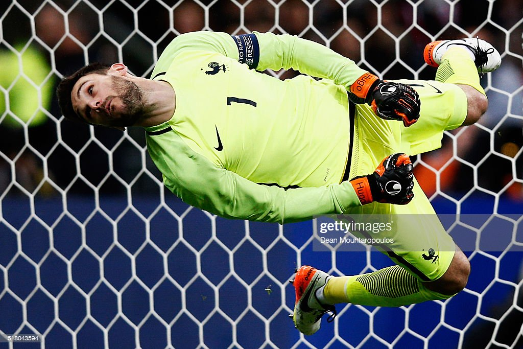 Goalkeeper, Hugo Lloris of France attempts and fails to save the shot and goal from going in during the International Friendly match between France and Russia held at Stade de France on March 29, 2016 in Paris, France.