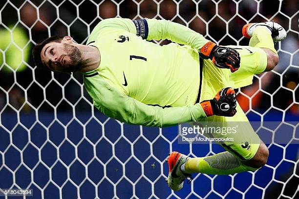 Goalkeeper Hugo Lloris of France attempts and fails to save the shot and goal from going in during the International Friendly match between France...