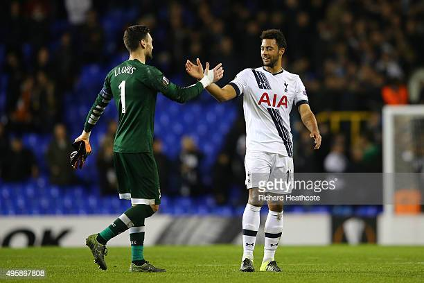Goalkeeper Hugo Lloris of Spurs and Mousa Dembele of Spurs shake hands following their team's 21 victory during the UEFA Europa League Group J match...