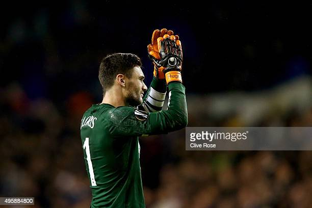 Goalkeeper Hugo Lloris of Spurs appaluds the fans following his team's 21 victory during the UEFA Europa League Group J match between Tottenham...