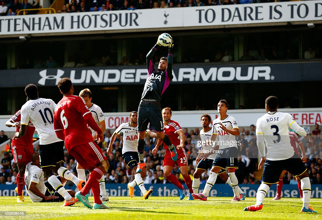 Goalkeeper Hugo Lloris of Spurs claims a cross during the Barclays Premier League match between Tottenham Hotspur and West Bromwich Albion at White Hart Lane on September 21, 2014 in London, England.
