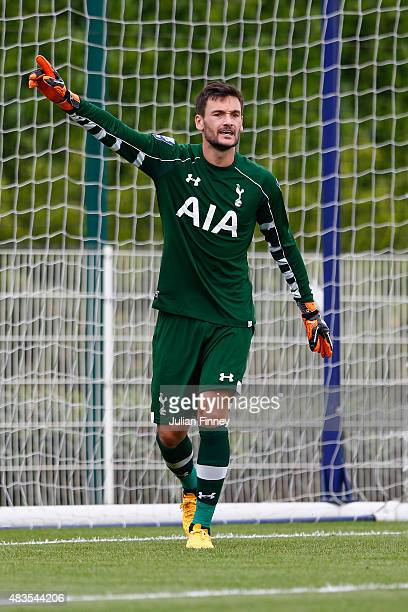 Goalkeeper Hugo Lloris of Spurs gives instructions during the Barclays U21 Premier League match between Tottenham Hotspur U21 and Everton U21 at...