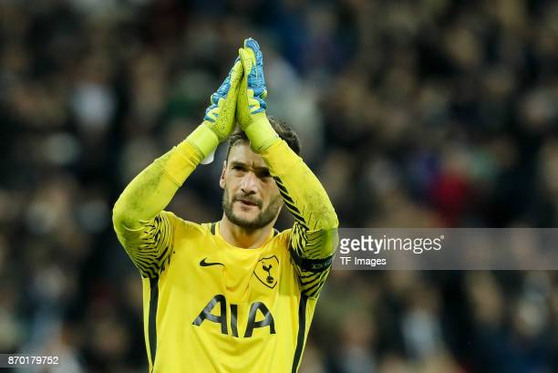 goalkeeper Hugo Lloris of Tottenham Hotspur gestures during the UEFA Champions League group H match between Tottenham Hotspur and Real Madrid at...