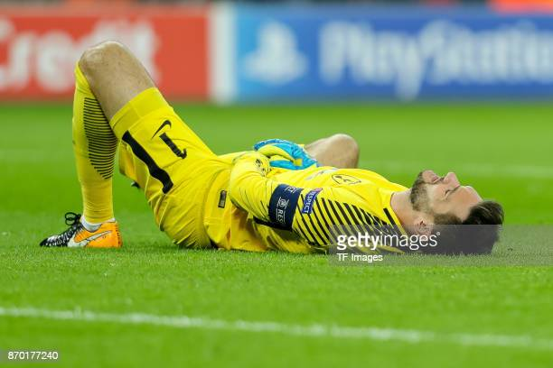 goalkeeper Hugo Lloris of Tottenham Hotspur on the ground during the UEFA Champions League group H match between Tottenham Hotspur and Real Madrid at...