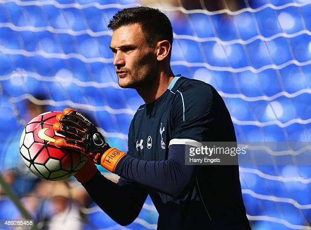 Goalkeeper Hugo Lloris of Tottenham Hotspur warms up prior to the Barclays Premier League match between Tottenham Hotspur and Crystal Palace at White...