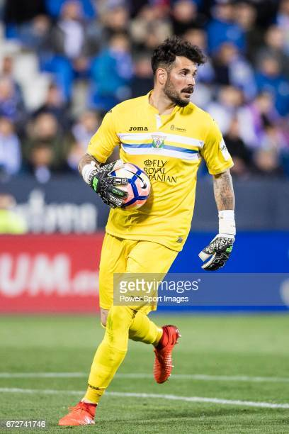 Goalkeeper Iago Herrein of Deportivo Leganes in action during their La Liga match between Deportivo Leganes and Real Madrid at the Estadio Municipal...