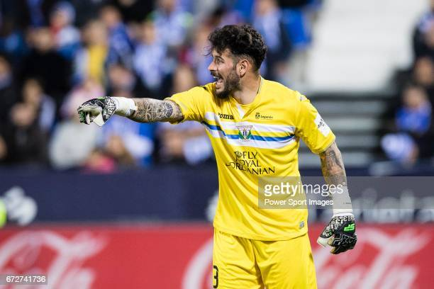 Goalkeeper Iago Herrein of Deportivo Leganes reacts during their La Liga match between Deportivo Leganes and Real Madrid at the Estadio Municipal...