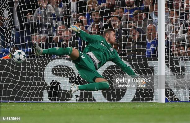 Goalkeeper Ibrahim Sehic of Qarabag is unable to save the shot from Davide Zappacosta of Chelsea who scores a goal to make it 20 during the UEFA...