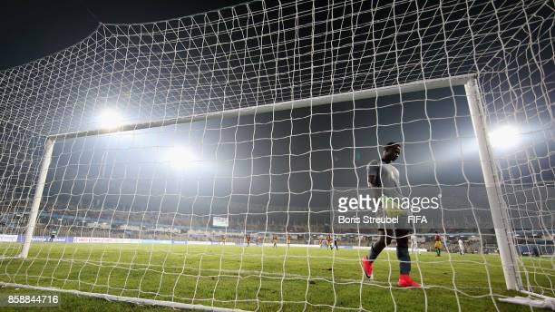Goalkeeper Ibrahima Sylla of Guinea looks dejected after Mohammad Sharifi of Iran celebrates after cores his team's second goal during the FIFA U17...