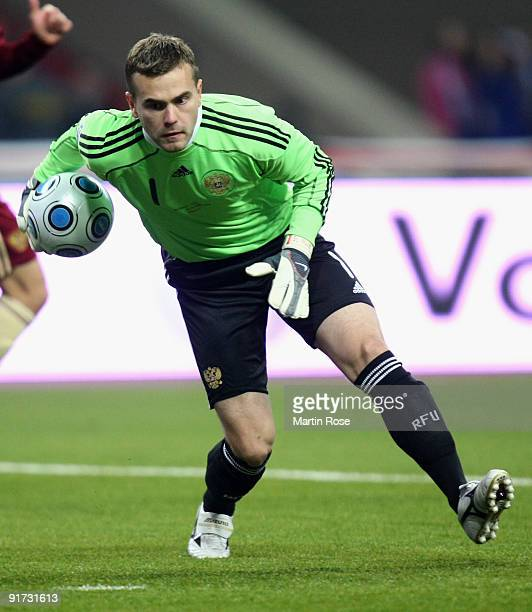 Goalkeeper Igor Akinfeev of Russia in action during the FIFA 2010 World Cup Group 4 Qualifier match between Russia and Germany at the Luzhniki...