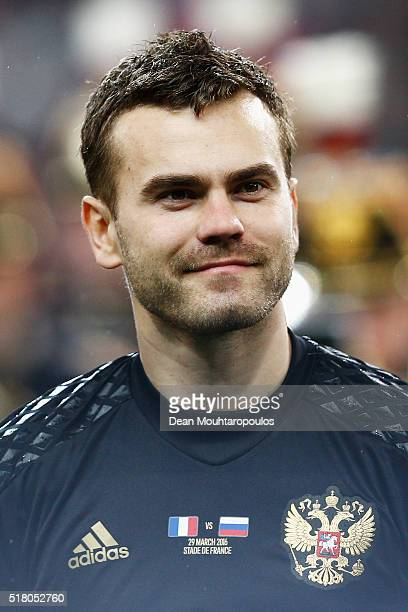 Goalkeeper Igor Akinfeev of Russia looks on prior to the International Friendly match between France and Russia held at Stade de France on March 29...