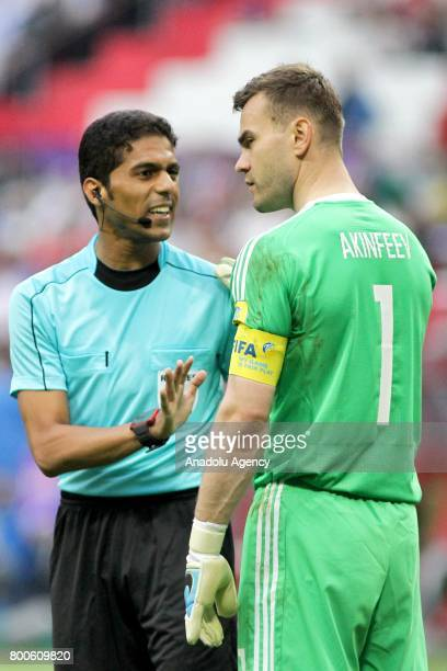 Goalkeeper Igor Akinfeev of Russia speaks to referee during the FIFA Confederations Cup 2017 group A soccer match between Mexico and Russia at 'Kazan...