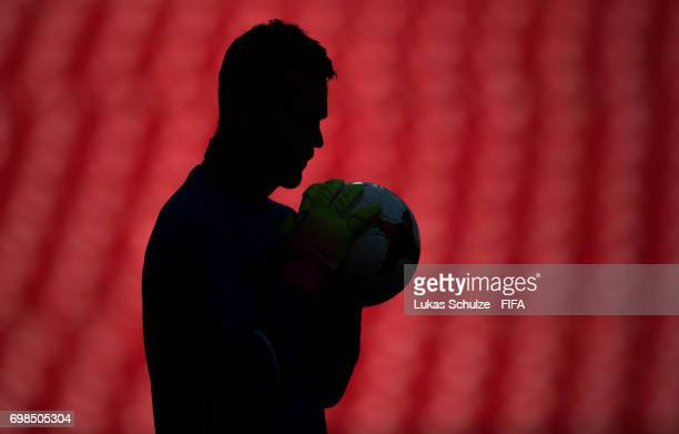 Goalkeeper Igor Akinfejew of Russia holds a ball during a training session at Spartak Stadium during the FIFA Confederations Cup Russia 2017 on June...
