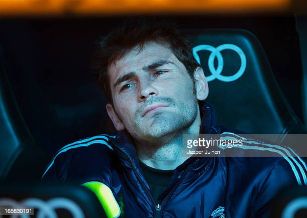 Goalkeeper Iker Casillas of Real Madrid back from an injury sits on the bench during the la Liga match between Real Madrid CF and Levante UD at...