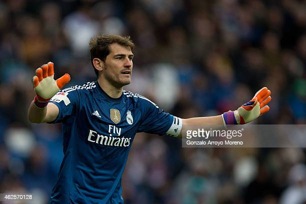 Goalkeeper Iker Casillas of Real Madrid CF gives instructions to his teammates during the La Liga match between Real Madrid CF and Real Sociedad de...