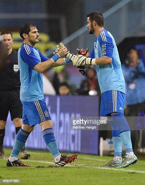 Goalkeeper Iker Casillas of Spain and goalkeeper Kiko Casilla of Spain shake hands during the International Friendly match between Spain and Germany...