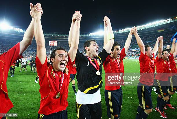 Goalkeeper Iker Casillas of Spain celebrates victory with team mates after the UEFA EURO 2008 Final match between Germany and Spain at Ernst Happel...