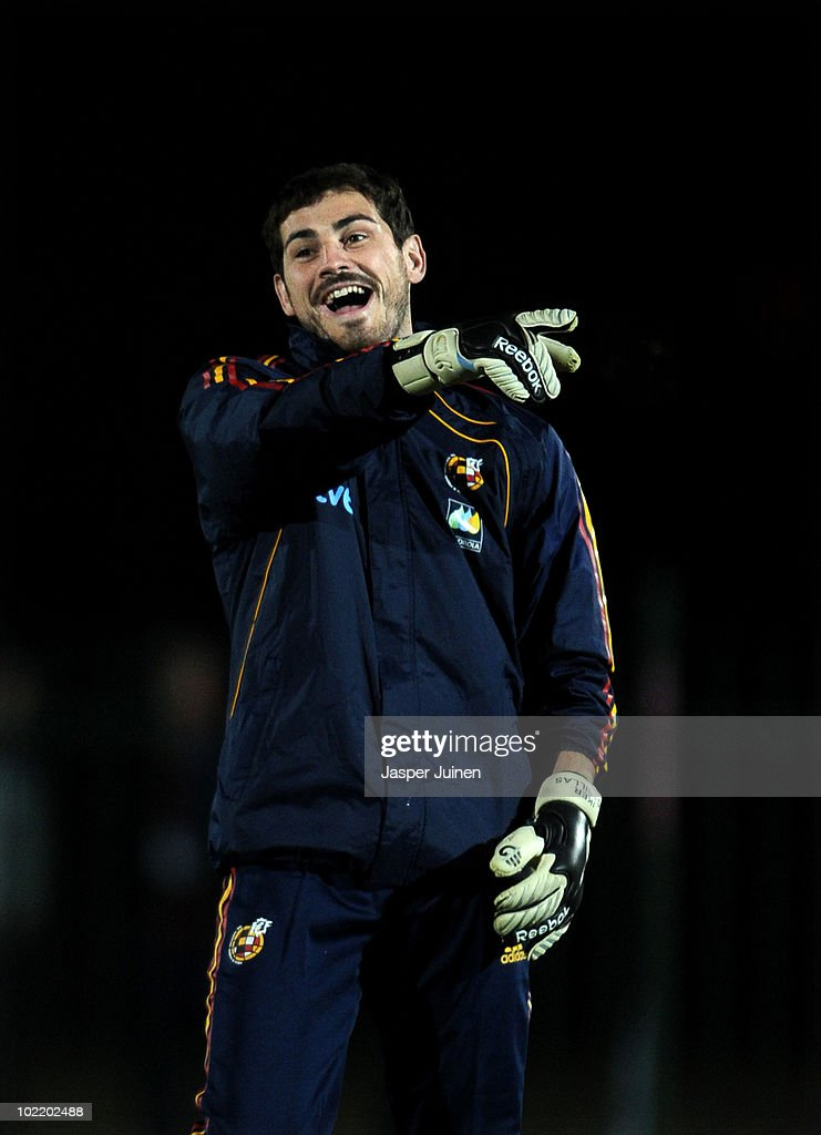 Goalkeeper <a gi-track='captionPersonalityLinkClicked' href=/galleries/search?phrase=Iker+Casillas&family=editorial&specificpeople=215446 ng-click='$event.stopPropagation()'>Iker Casillas</a> of Spain laughs during a training session on June 18, 2010 in Potchefstroom, South Africa.