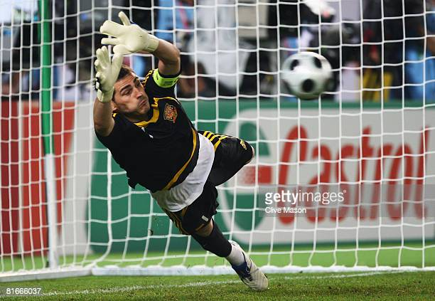 Goalkeeper Iker Casillas of Spain saves a penalty during the UEFA EURO 2008 Quarter Final match between Spain and Italy at Ernst Happel Stadion on...