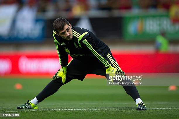 Goalkeeper Iker Casillas of Spain warms up before the international friendly match between Spain and Costa Rica at Reino de Leon Stadium on June 11...