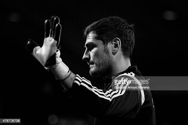 Goalkeeper Iker Casillas of Spain waves as he leaves the pitch afte his warming up before the international friendly match between Spain and Costa...