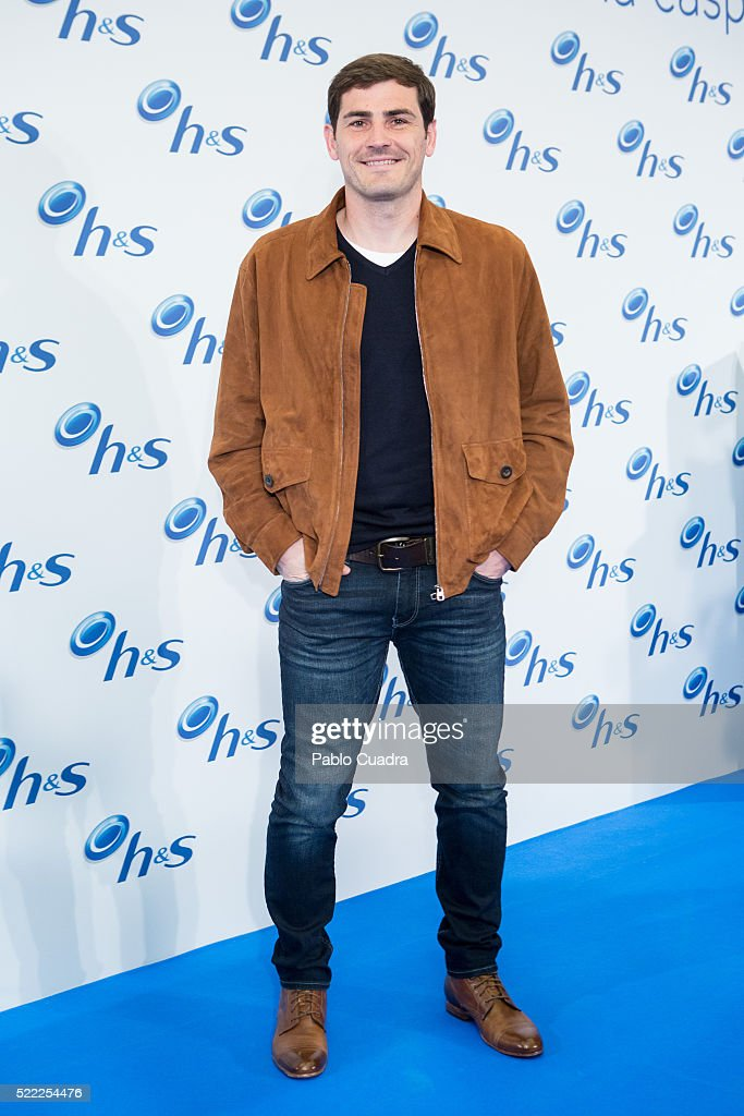 Goalkeeper <a gi-track='captionPersonalityLinkClicked' href=/galleries/search?phrase=Iker+Casillas&family=editorial&specificpeople=215446 ng-click='$event.stopPropagation()'>Iker Casillas</a> presents the new campaign and products by H&S on April 18, 2016 in Madrid, Spain.