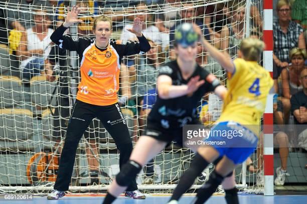 Goalkeeper Ine Stangvik of Copenhagen Handball in action during the Primo Tours Ligaen 3 Final match between Nykobing Falster Handbold and Copenhagen...