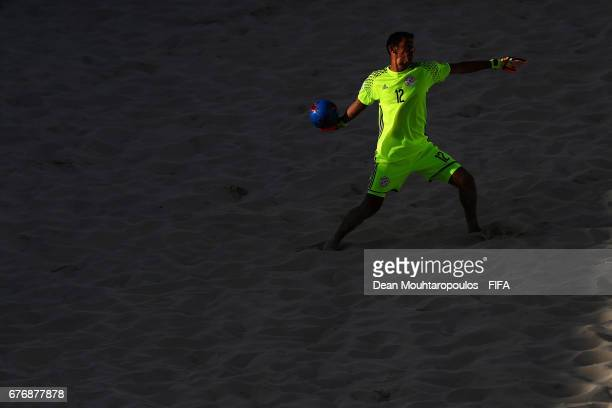Goalkeeper Ivan Fernandez of Paraguay in action during the FIFA Beach Soccer World Cup Bahamas 2017 group C match between Paraguayand Panama at...