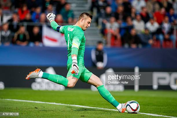 Goalkeeper Jack Butland of England controls the ball during the UEFA Under21 European Championship 2015 match between England and Italy at Andruv...