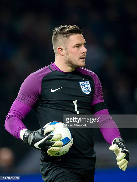 Goalkeeper Jack Butland of England looks on during the International Friendly match between Germany and England at Olympiastadion on March 26 2016 in...