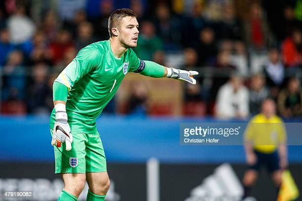 Goalkeeper Jack Butland of England reacts during the UEFA Under21 European Championship 2015 match between England and Italy at Andruv Stadium on...