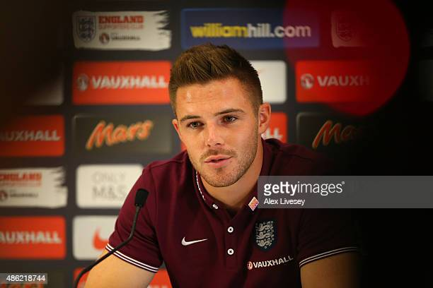 Goalkeeper Jack Butland speaks to the media during the England press conference at St Georges Park on September 2 2015 in BurtonuponTrent England