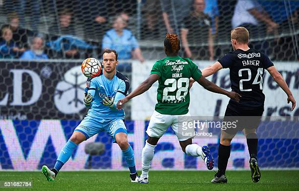 Goalkeeper Jack Duncan of Randers FC saves the ball during the Danish Alka Superliga match between Viborg FF and Randers FC at Energi Viborg Arena on...