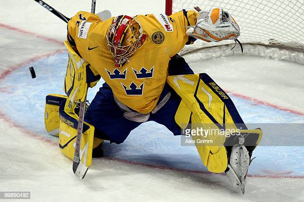 Goalkeeper Jacob Markstrom of Sweden makes a save during the IIHF World Championship group E qualification round match between Switzerland and Sweden...