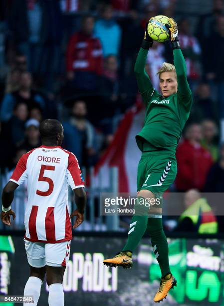 Goalkeeper Jacob Rinne of AaB Aalborg in action during the Danish Alka Superliga match between Brondby IF and AaB Aalborg at Brondby Stadion on...
