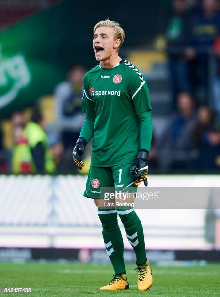 Goalkeeper Jacob Rinne of AaB Aalborg shouts during the Danish Alka Superliga match between Brondby IF and AaB Aalborg at Brondby Stadion on...
