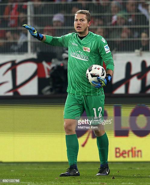 Goalkeeper Jakob Busk of Berlin gestures during the Second Bundesliga match between 1 FC Union Berlin and SpVgg Greuther Fuerth at Stadion An der...