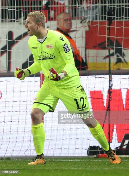 Goalkeeper Jakob Busk of Berlin gestures during the Second Bundesliga match between 1 FC Union Berlin and 1 FC Kaiserslautern at Stadion An der Alten...