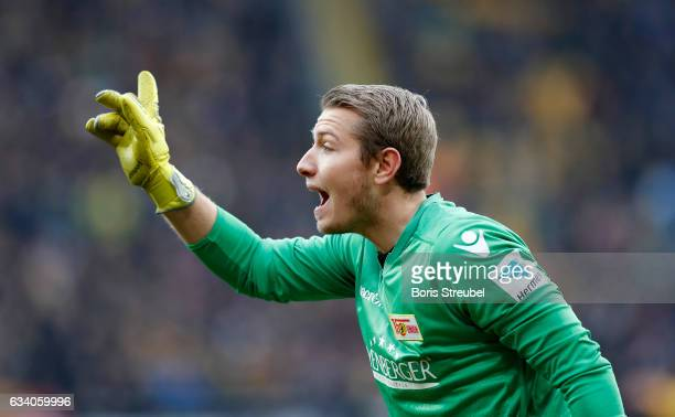Goalkeeper Jakob Busk of Union Berlin gestures during the Second Bundesliga match between SG Dynamo Dresden and 1 FC Union Berlin at DDVStadion on...