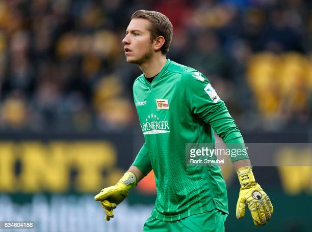 Goalkeeper Jakob Busk of Union Berlin looks on during the Second Bundesliga match between SG Dynamo Dresden and 1 FC Union Berlin at DDVStadion on...