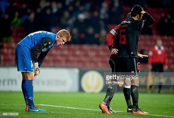 Goalkeeper Jakob Haugaard of FC Midtjylland and Jim Larsen of FC Midtjylland looks dejected during the Danish Superliga match between FC Vestsjalland...
